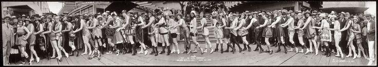 "Annual ""Bathing Girl Parade,"" Balboa Island at Newport Beach, California. June 20, 1920. Panoramic photo by Miles Weaver."