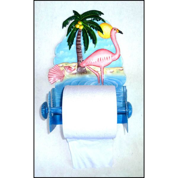 Flamingo Painted Metal Toilet Paper Holder - Tropical Bathroom Decor -... via Polyvore featuring home, bed & bath, bath, bath accessories, tropical bath accessories, tropical bathroom accessories, metal toilet paper holder and metal bathroom accessories