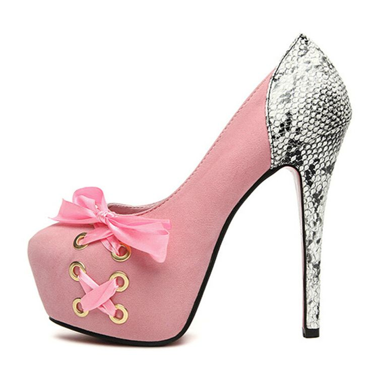 Bomba de casamento das mulheres sapatos de camurça bombas rosa pele de cobra Slip On Lace Up cetim arcos Bowtie nudez de salto Stiletto salto oi rua alishoppbrasil