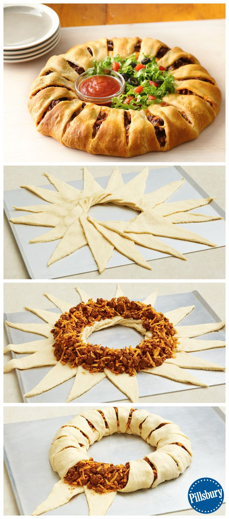 Create a fun new twist on a classic with this Taco Crescent Ring! Dress it with fresh lettuce and salsa for a fun fiesta night.