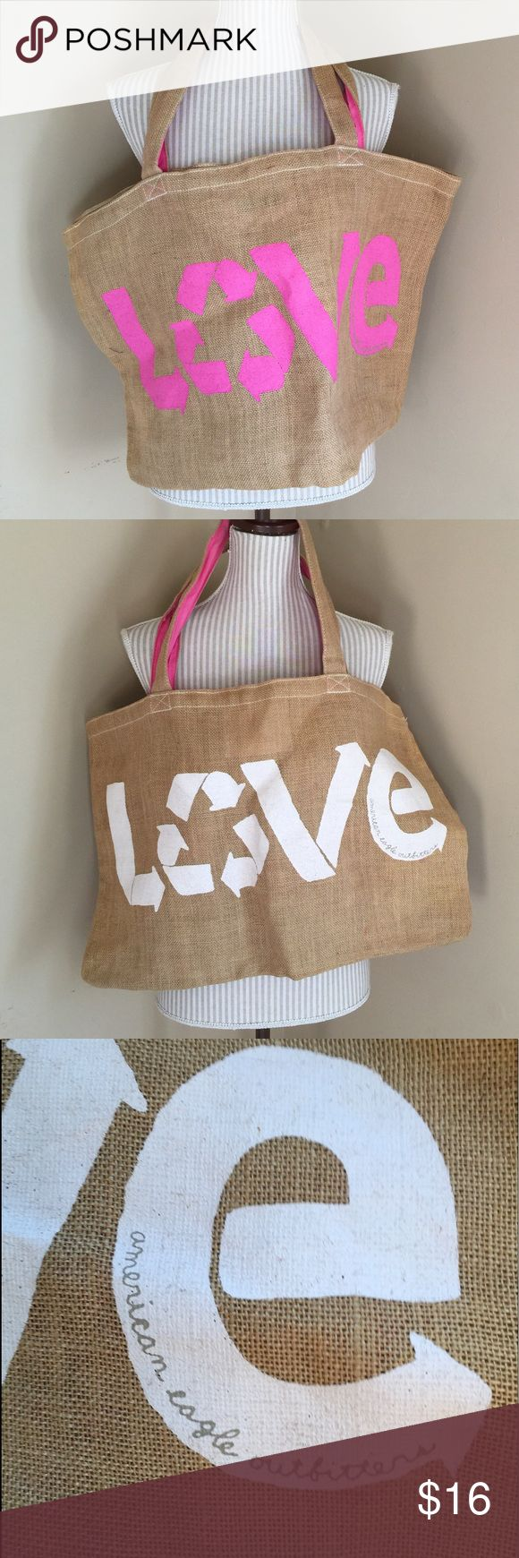"""American Eagle LOVE Pink & White Canvas Tote Bag Great for the beach. Couple spots that are not noticeable at all. Inside & handles are great. About 23.5"""" wide and 15"""" tall. American Eagle Outfitters Bags Totes"""