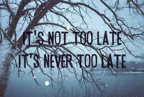 """Even if I say, it'll be alright! Still I hear you say you want to end your life! Now and again we try, to just stay alive! Maybe we'll turn it all around 'cause it's not too late! It's never too late!""... ""Never Too Late""- Three Days Grace <3."