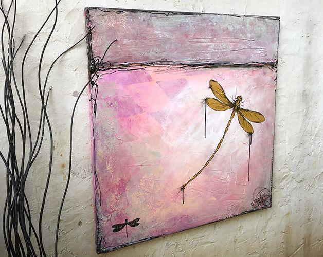 "Originalmalerei ""Libellen-Liebe"" 80x80cm Leinwand"