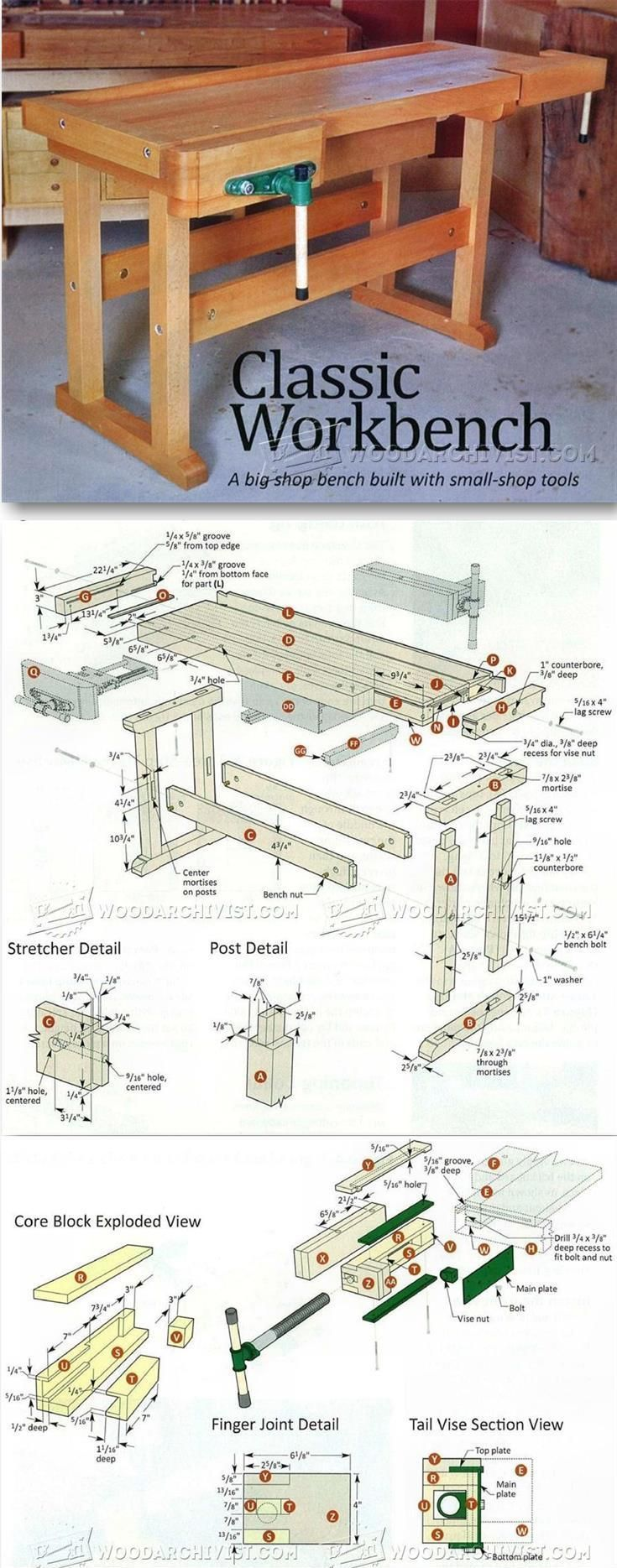 Classic Workbench Plans - Workshop Solutions Projects, Tips and Tricks   WoodArchivist.com #woodworkingplans #WoodworkingPlansWorkbench