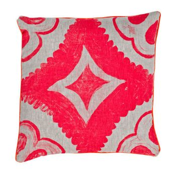 Dahlia Fluoro Pink Cushion: The Dahlia Fluoro Pink Cushion is a 100% linen cushion.  -Hand screen printed with dahlia tile design in fluoro pink  -Finished with orange piping -Includes a feather filler