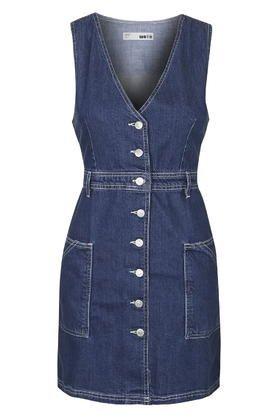 MOTO V-Neck Button Denim Dress