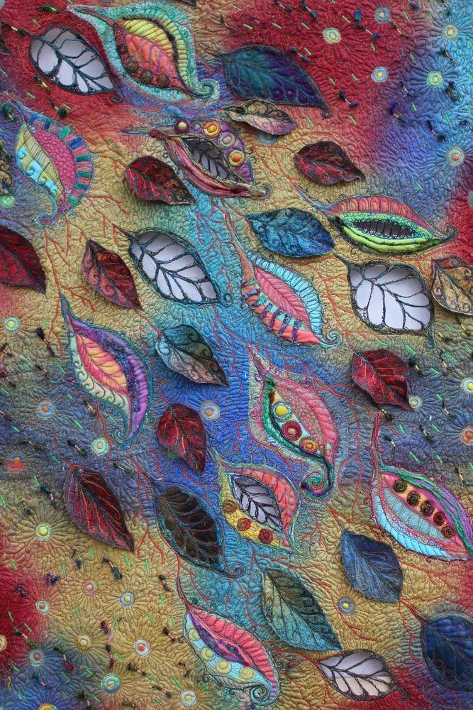 Michelle Mischkulnig   Chelle Textiles. Leaves - a wonderful textile - colours, design and workmanship! Curleytop1.