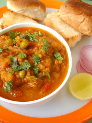 Mumbai's famous street food - Pav Bhaji. Pav = Bun and Bhaji = a mashed mixed vegetable curry prepared with Pav Bhaji Masala.