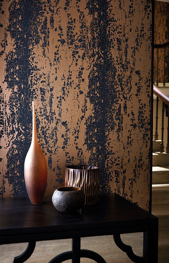 Eglomise wallpaper by Harlequin is an evocative ombré distressed panel stripe. We love this copper and black colourway!