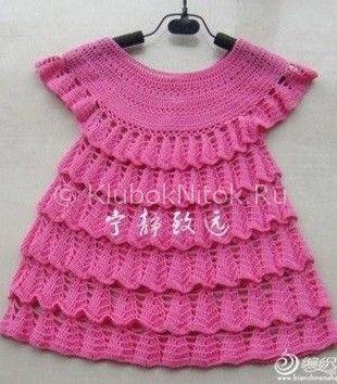 Малиновое платье с рюшами | Вязание для девочек | Вязание спицами и крючком. Схемы вязания.