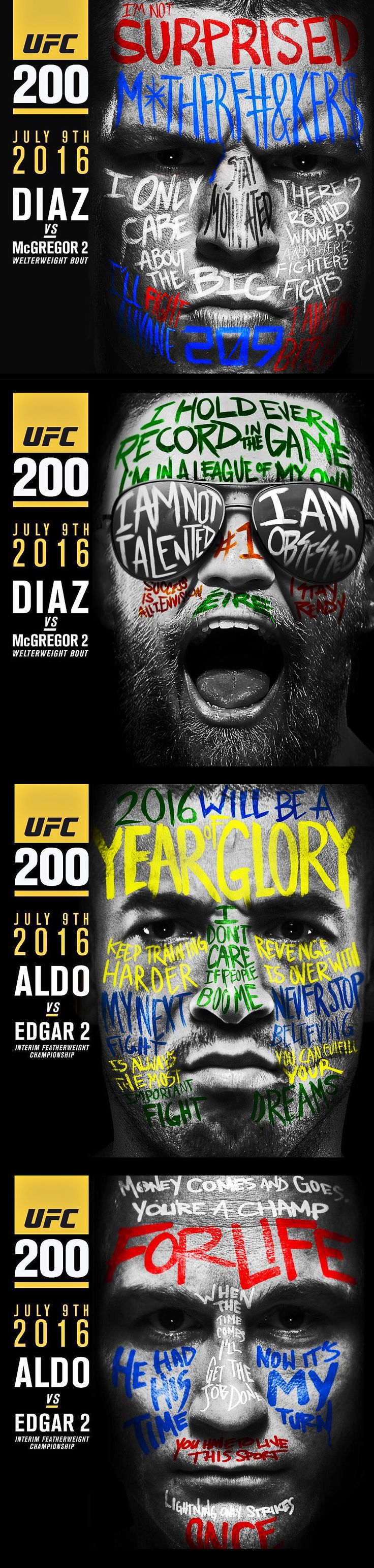 Nate Diaz vs Conor McGregor / Jose Aldo vs Frankie Edgar #UFC200 fight promo : if you love #MMA, you'll love the #UFC & #MixedMartialArts inspired fashion at CageCult: http://cagecult.com/mma