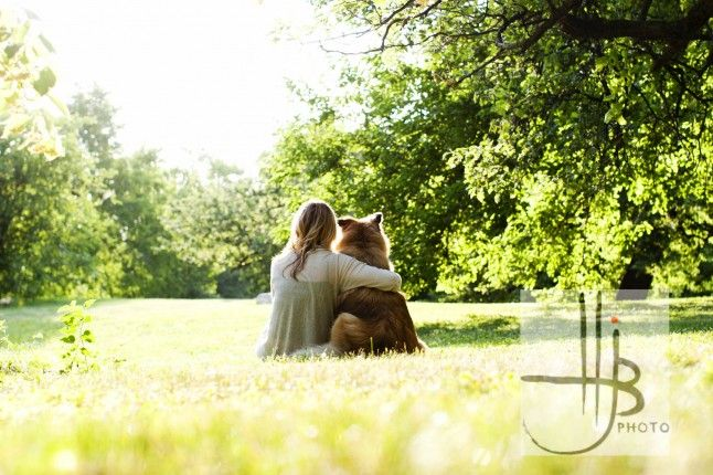 girl owner and dog back view rim lighting park in chicago dog and owner photography