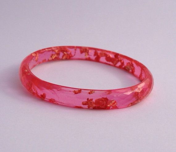 Handmade rose faceted eco-resin bangle with copper leaf.