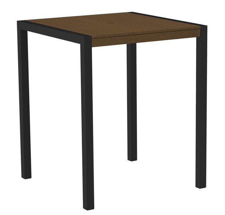 "Polywood 8102-12TE MOD 36"" Bar Table in Textured Black Aluminum Frame / Teak"