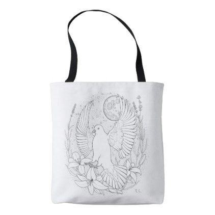 White peace pigeon sitting on a flower tote bag - wedding bag marriage design idea custom unique