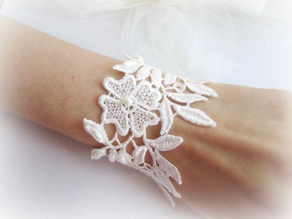 Ivory lace cuff bracelet floral lace bracelet by MalinaCapricciosa