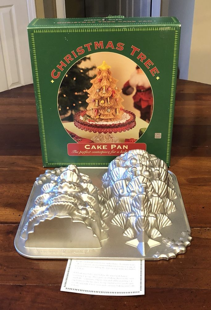 Nordic Ware Cast Christmas Tree Cake Baking Pan Mold 10 Tall Double Cavity Box Nordicware Christmas Tree Cake Cake Baking Pans Nordic Ware