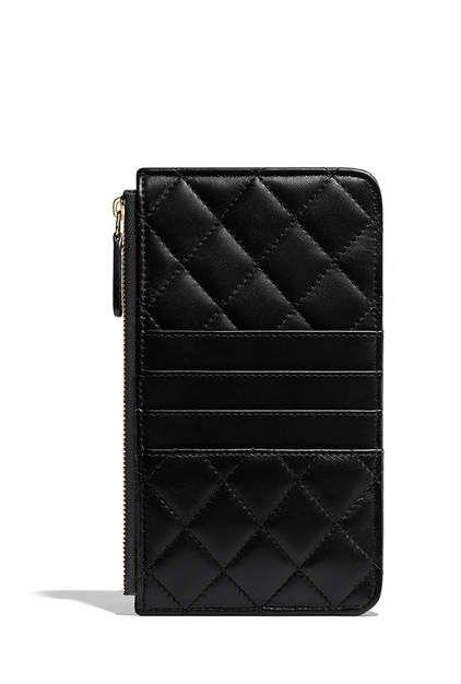 96230d622012 Classic flat wallet pouch, lambskin-black & burgundy - CHANEL ...