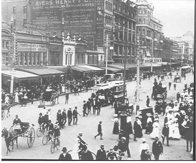 PH 239. Swanston St, corner of Flinders Street (note Prahran cable tram), ca. 1900.