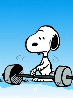 Snoopy weight-lifting GIF
