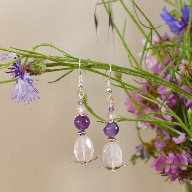 Boucles romantiques quartz rose et améthyste : Boucles d'oreille par verveine-citron