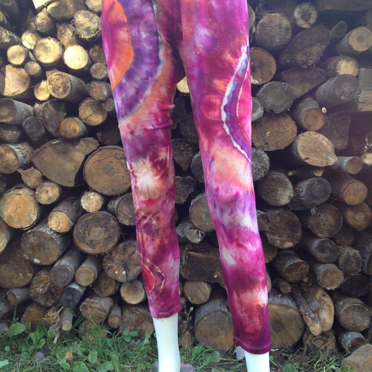 Organic Cotton/ Bamboo Hand Dyed Orange, Pink & Purple Yoga Pants/Leggings. Size Large by TheFabricatedArtist on Etsy