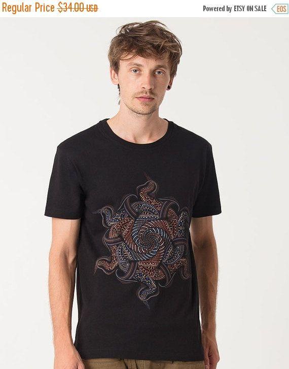 XMAS VENTE NOUVELLE Mens Black T-shirt psychédélique par IIISOLIII