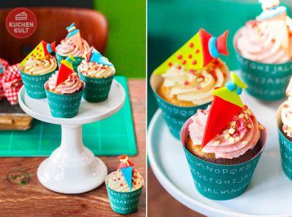 Einschulung Cup Cakes mit Schultüten aus Fondant