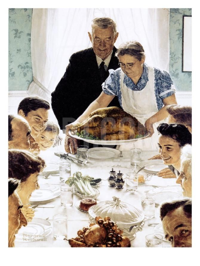 """""""Freedom From Want"""", March 6,1943 Giclee Print by Norman Rockwell at Art.com"""