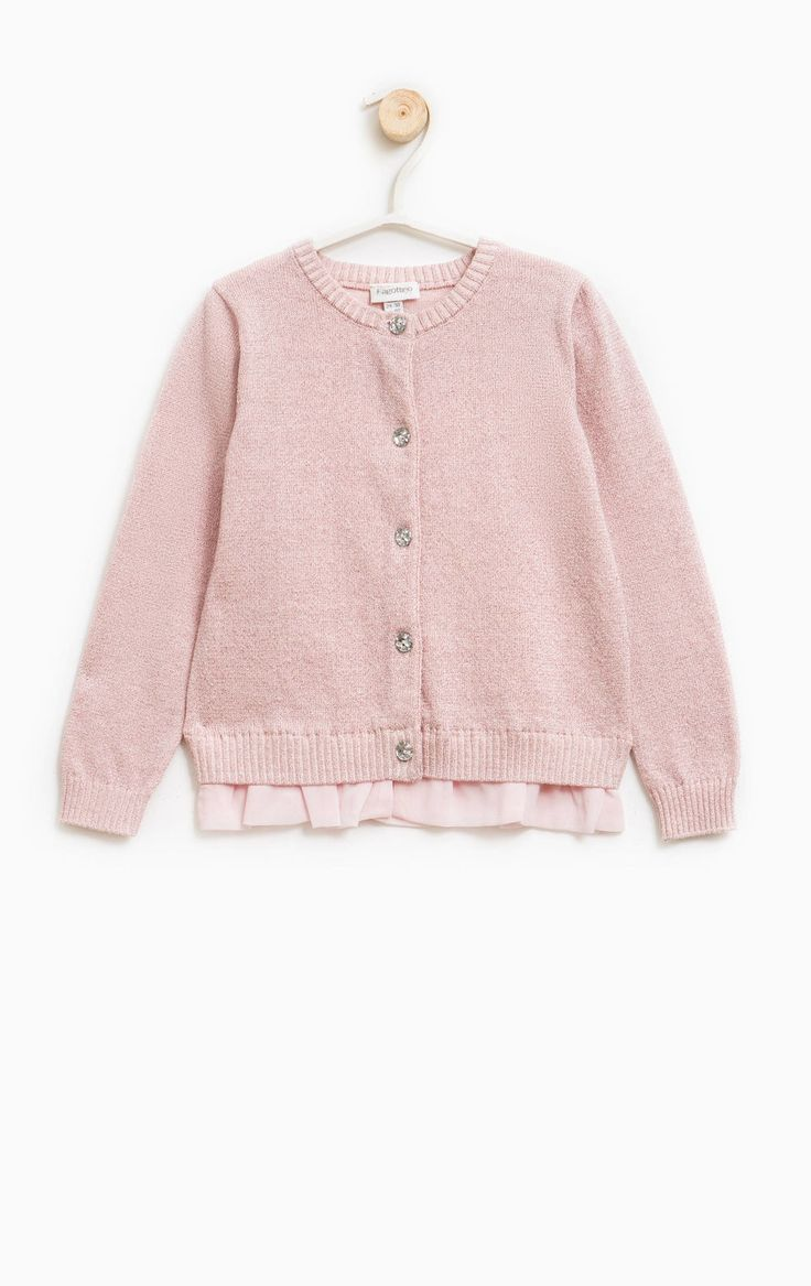 Cotton cardigan with flounces, Pink