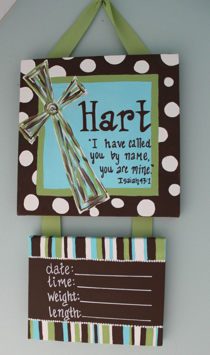 Scripture & Cross Personalized Hospital Door Hanger for New Baby. $45.00, via Etsy.