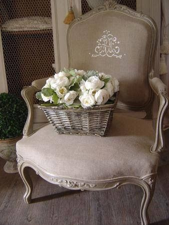 French country-I have a chair like this in my bedroom but needs new upholstery-love this