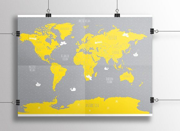 world map Graphics good idea for childroom!use Adobe Illustator(!) to resize and recolor as you want! by olia.medvedeva.art