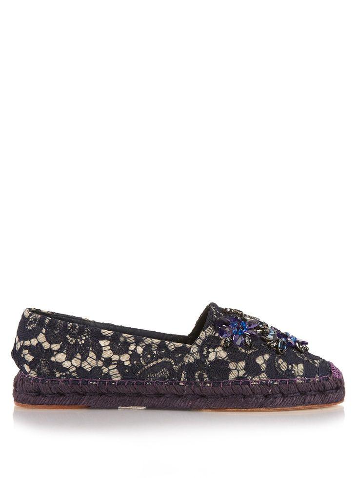 Crystal-embellished lace espadrilles | Dolce & Gabbana | MATCHESFASHION.COM UK