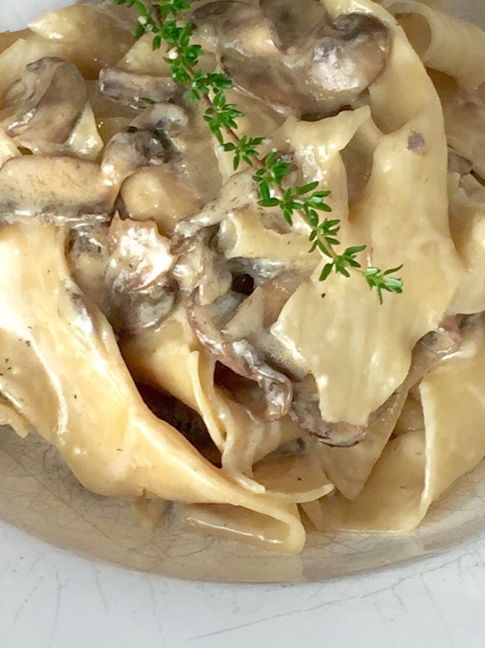 Mushroom Pappardelle with Ricotta Truffle Cream - A recipe for tender ribbons of pappardelle pasta and earthy mushrooms bathed in ricotta & truffle & cream. Awesome! - theoptimalistkitchen.com