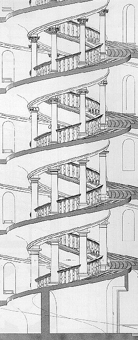 HIGH RENAISSANCE, #Bramante; Drawing of the spiral staircase of Belvedere Court, Vatican, 1495-1506, Rome # Belvedere Court, terraced on three levels joined by monumental stairs and defined by arcaded loggias with superimposed orders.