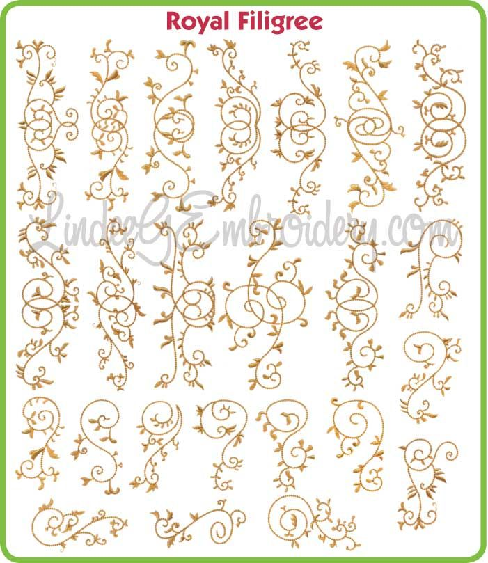 Royal Filigree - decorative single color satin & chain stitch machine embroidery designs collection, great for borders