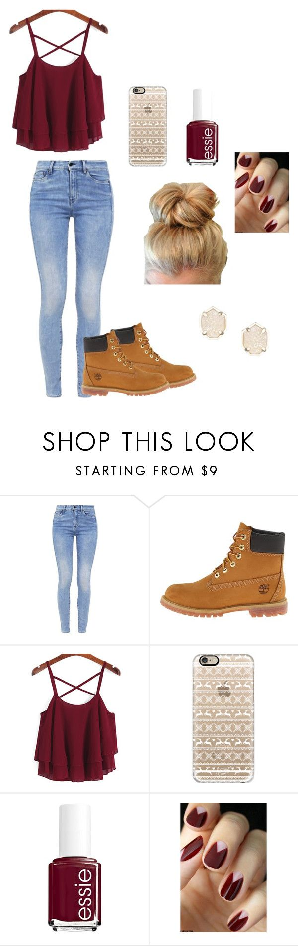 """Maroon"" by therealcheesequake on Polyvore featuring G-Star, Timberland, Casetify, Essie and Kendra Scott"