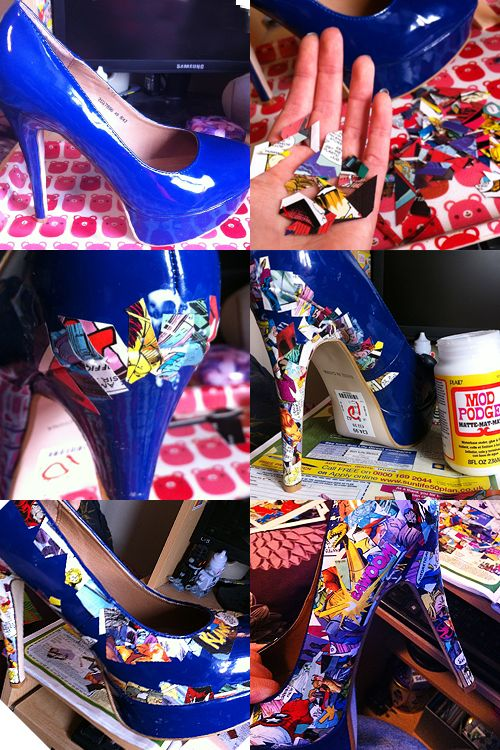 It's crafty... and it's fashion - mod podge comic book shoes (if