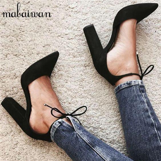 US $38.50 -- Пикантные черные сапоги Летние женские босоножки-гладиаторы на шнуровке высокий толстый каблук 9 см женские туфли-лодочки Туфли к свадебному платью женская обувь Zapatos Mujer купить на AliExpress