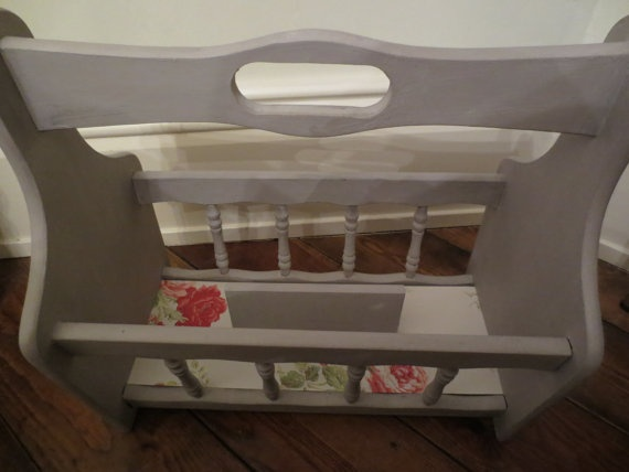 Magazine Rack painted in Annie Sloan Paloma by littlevintagecellar, £15.00