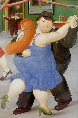 "They positively flew across the floor!  Dancers by Fernando Botero. His signature style, also known as ""Boterismo"", depicts people and figures in large, exaggerated volume."