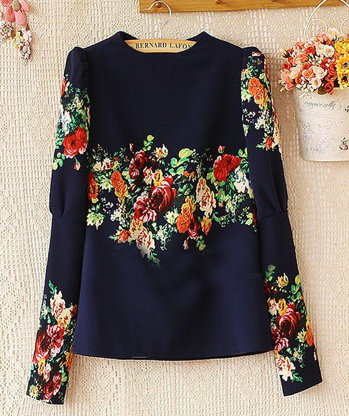 Navy Stand Collar Long Sleeve Floral Blouse