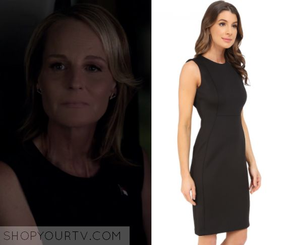 "Shots Fired: Season 1 Episode 8 Patricia's Black Sleeveless Dress | Shop Your TV Patricia Eamons (Helen Hunt) wears this black sleeveless sheath dress in this episode of Shots Fired, ""Hour 8: Rock Bottom"".  It is the Calvin Klein Sleeveless Sheath Dress."