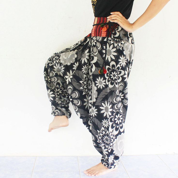 black and white harem pants hand weave cotton,yoga,spa,hippie, boho,bohemian, gypsy,aladddib,jumpsuit,genie ,baggy trousers,unisex pants. by meatballtheory on Etsy