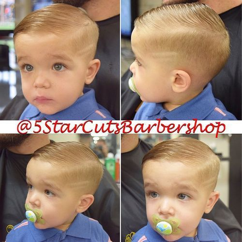 long top short sides baby boys haircut (without decorative lines in shaved…