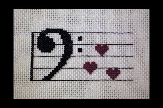Bass Clef Music Love PDF Cross Stitch Pattern, Music Cross Stitch Pattern, Instant Download