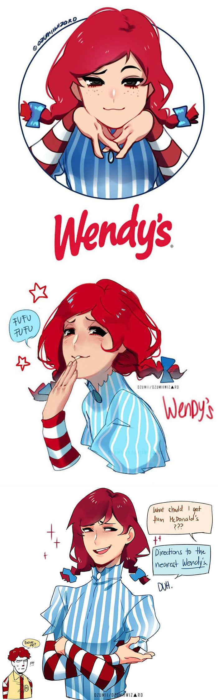 Wendy Illustrator Reimagines Fast Food Mascots As Anime Characters And Now Everyone Wants To Read Their Manga by Ozumii