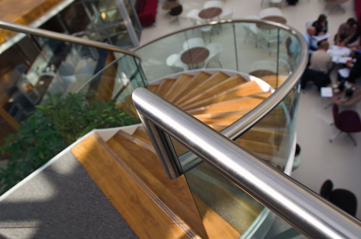 Gorgeous stainless steel spiral staircase handrail