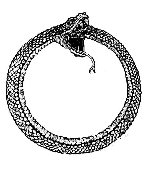The Ouroboros (serpent or dragon eating its own tail) often symbolize self-reflexivity or cyclicality, especially in the sense of something constantly re-creating itself, the eternal return, and other things such as the phoenix which operate in cycles that begin anew as soon as they end.